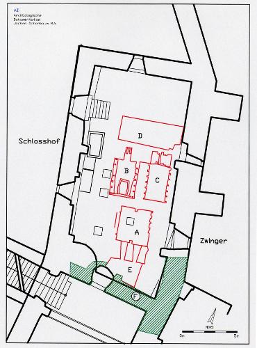 Abb. 2 Schloss Aschach. Plan der Befunde im nördlichen Keller des Schlossgebäudes. A Brennofen; B Brennofen; C Brennofen ; D. nördlicher Heizraum; E. südlicher Heizraum, F. mittelalterliche Befunde (13.Jh)