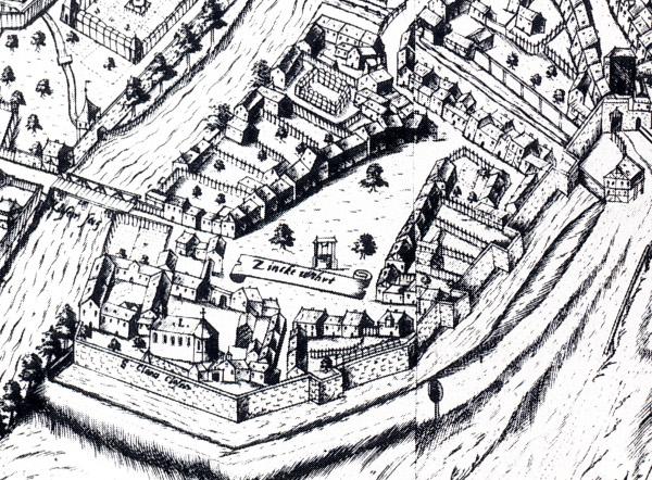 Abb. 1 Der Stadtplan von Petrus Zweidler aus dem Jahr 1602 zeigt den Zinkenwörth mit seiner zum Teil noch heute stehenden Bebauung.